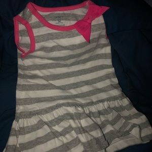 Carters gray and white striped dress pink bow